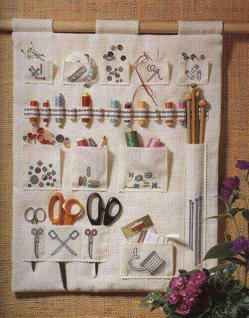 atelier de costura - tecido com bolsos para guardar