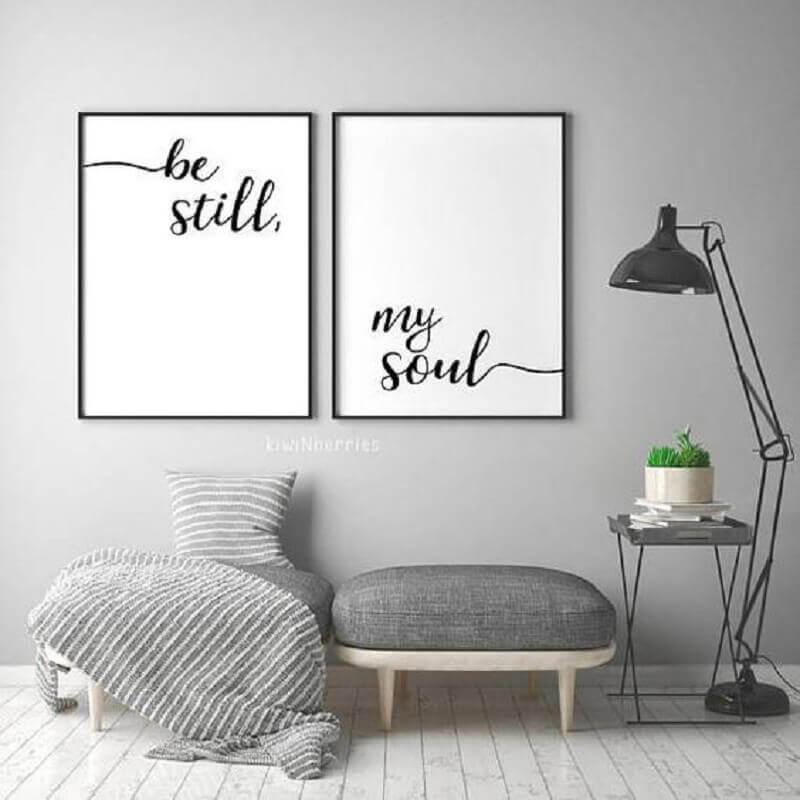 decoração cinza com quadros tumblr de frase Foto DePoster
