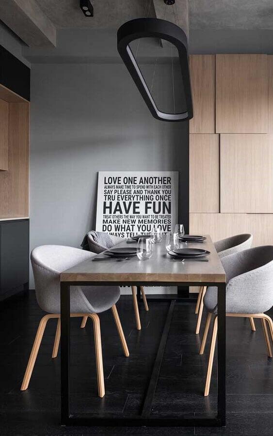 decoração moderna para sala de jantar cinza com quadro tumblr de frase Foto Wood Save