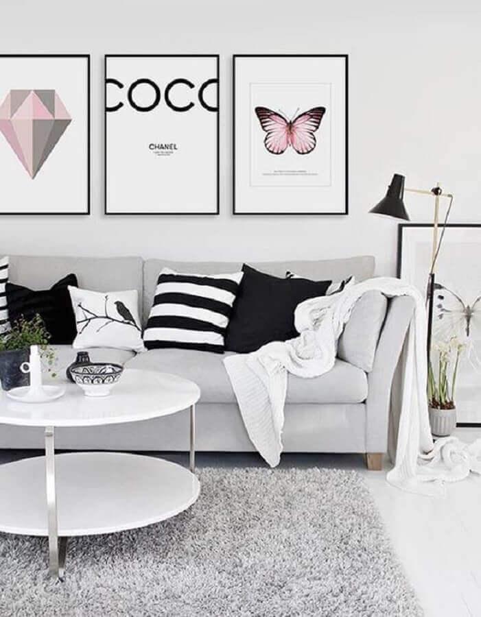 decoração para sala de estar moderna com kit de quadros tumblr Foto Zozu