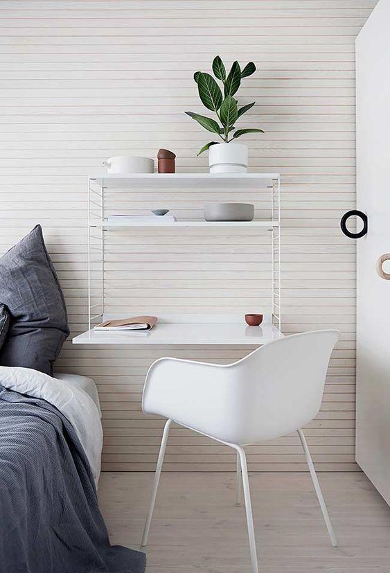 escrivaninha suspensa - escrivaninha branca com prateleiras