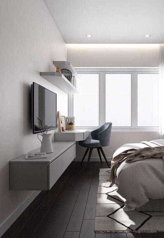 escrivaninha suspensa - escrivaninha branca em quarto