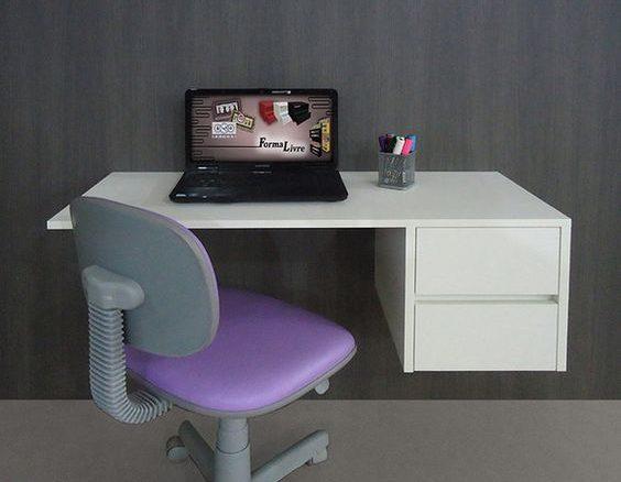 escrivaninha suspensa - escrivaninha branca suspensa com gavetas