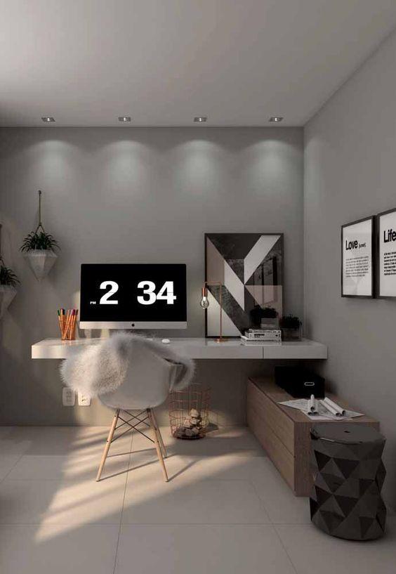 escrivaninha suspensa - escrivaninha cinza grande em quarto