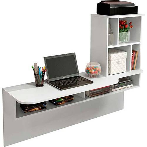 escrivaninha suspensa - escrivaninha com estante e nichos