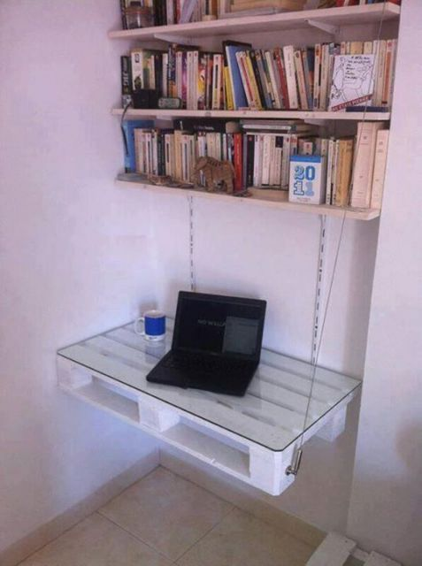 escrivaninha suspensa - escrivaninha de madeira com tampo de vidro