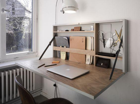 escrivaninha suspensa - escrivaninha de madeira dobrável