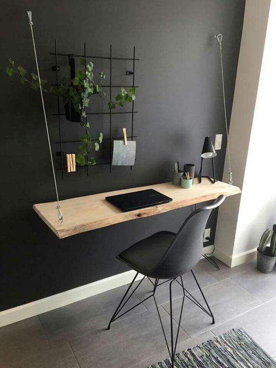 escrivaninha suspensa - escrivaninha de madeira simples