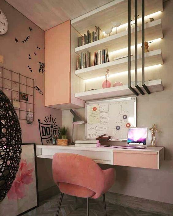escrivaninha suspensa - escrivaninha em baixo de prateleiras