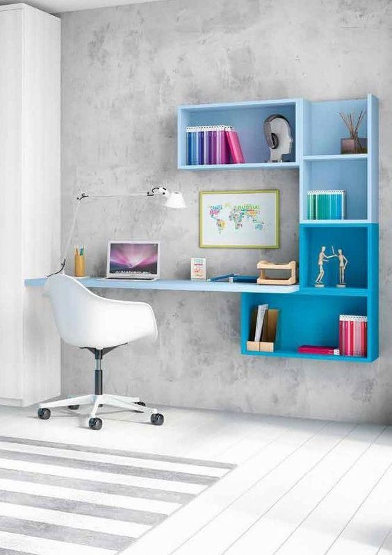 escrivaninha suspensa - escrivaninha em estante azul