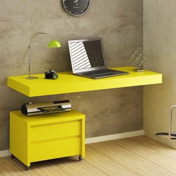 escrivaninha suspensa - escrivaninha suspensa amarela