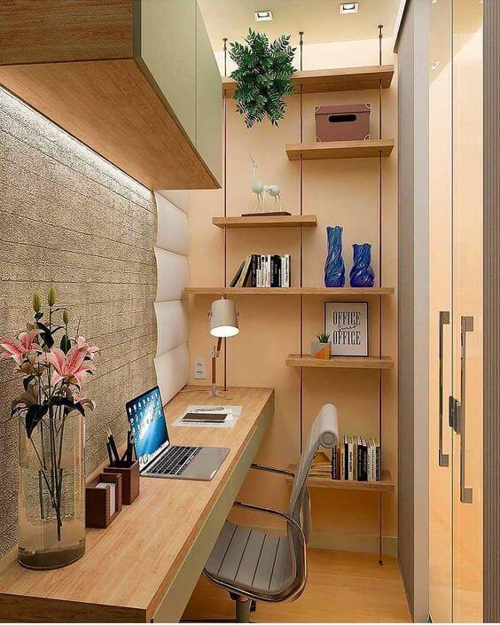 escrivaninha suspensa - escrivaninha suspensa de madeira em escritório