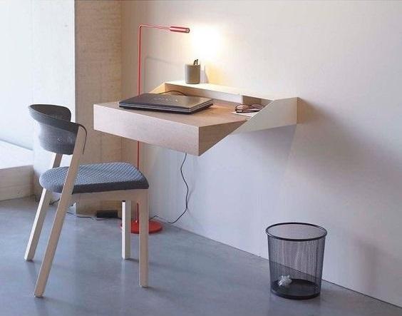 escrivaninha suspensa - prateleira que vira escrivaninha