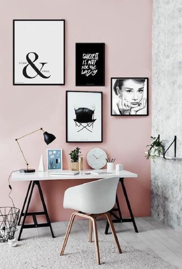 home office decorado com quadros tumblr Foto Atrás do Batom Vermelho