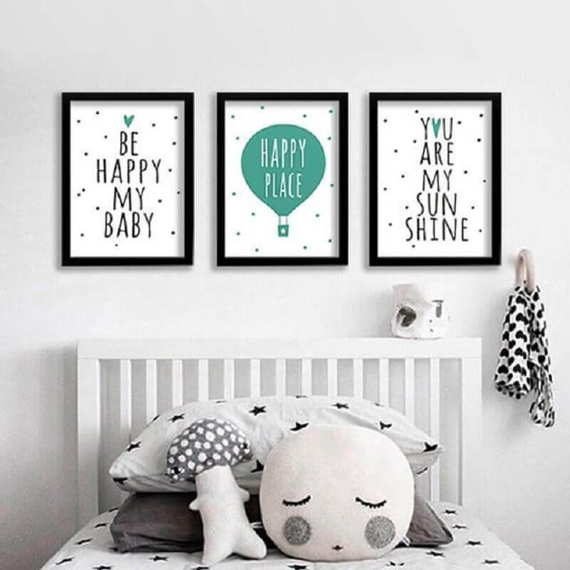 kit de quadros tumblr para quarto minimalista todo branco Foto LeWan - Loja Integrada