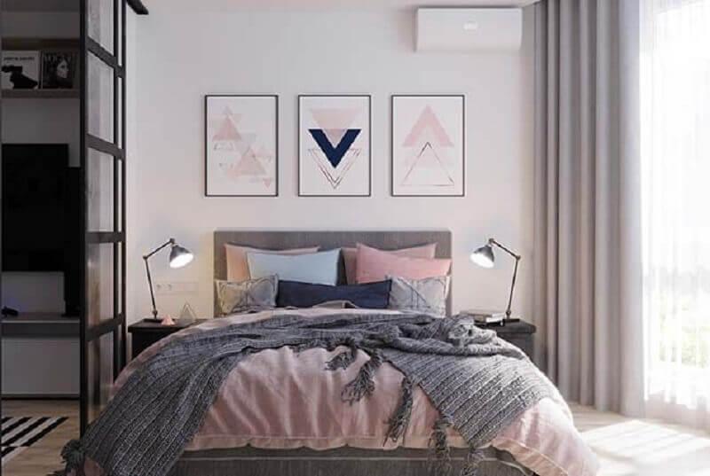 kit quadros tumblr para quarto de casal amplo decorado em tons pastéis Foto Wood Save
