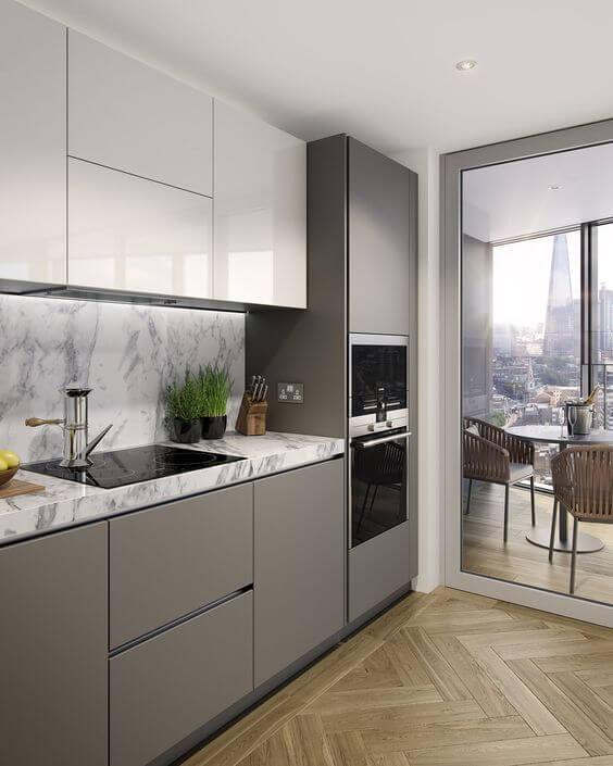 modelos de cozinha com armários cinza