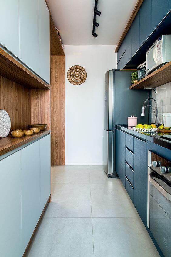 modelos de cozinha com armários em azul