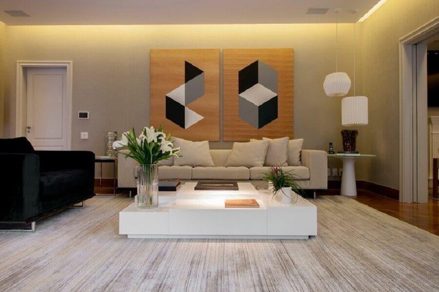 quadros tumblr grandes para decoração de sala ampla com poltrona preta e sofá branco Foto Archilovers