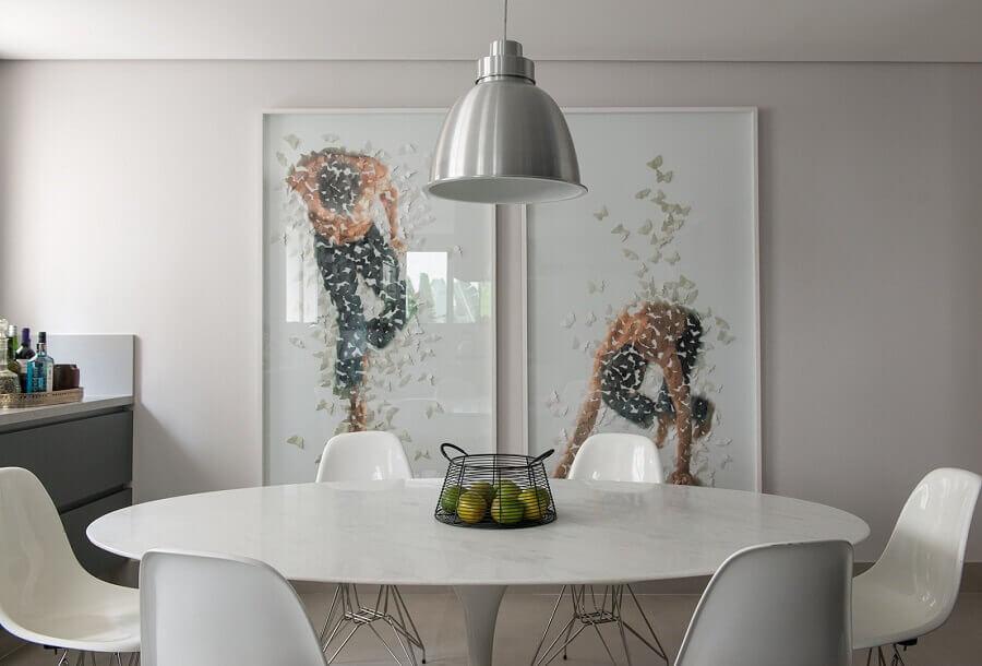 sala de jantar branca decorada com quadros tumblr grandes Foto Detalhes do Céu