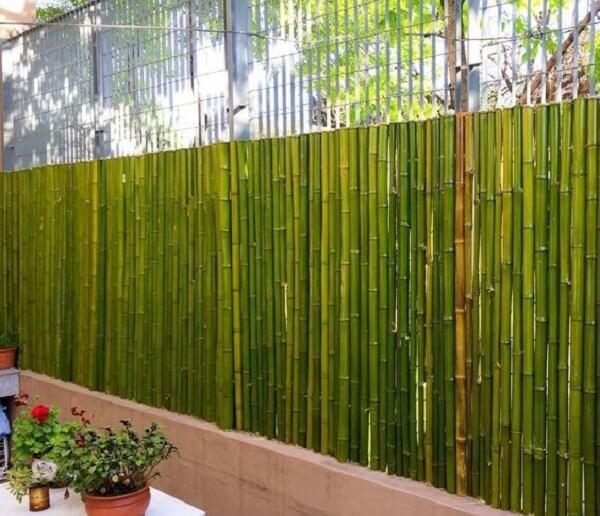 Cerca de bambu fixada em cima de uma base de concreto