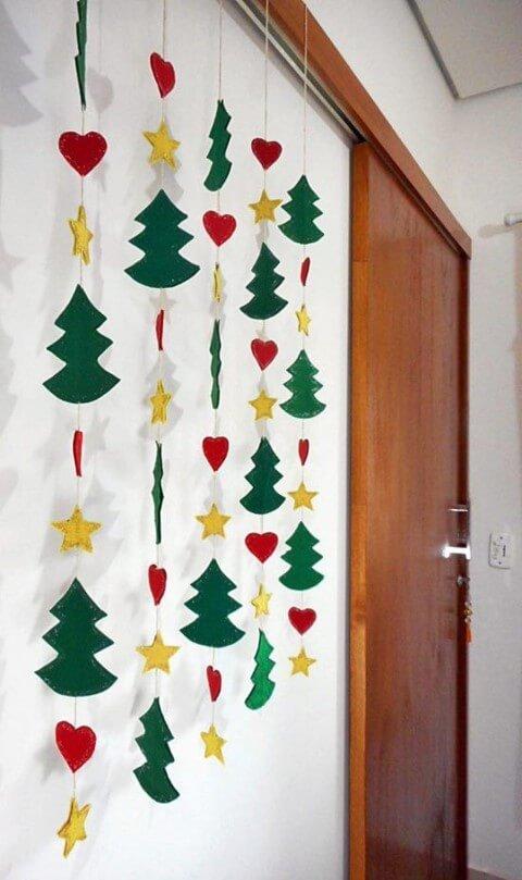 Enfeites de natal em EVA pendentes com árvores estrelas e corações