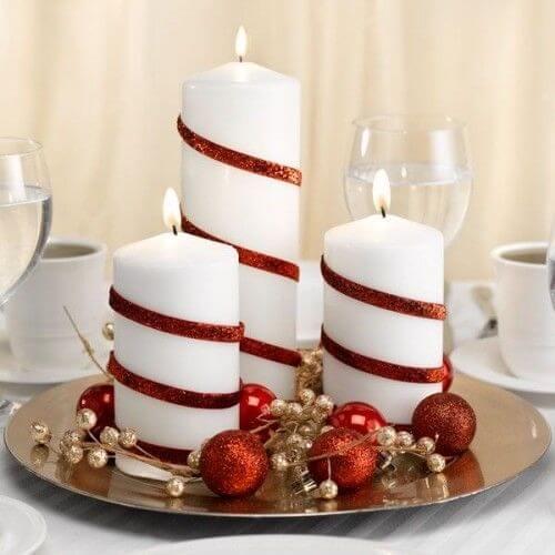 As velas de natal podem ser usadas das mais variadas formas em DIY natal