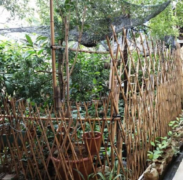A cerca de bambu delimita a área da horta
