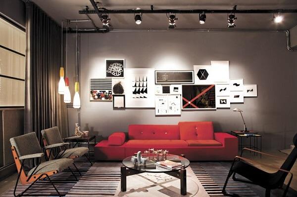 Sala de estar com decoração industrial e Spot de trilho
