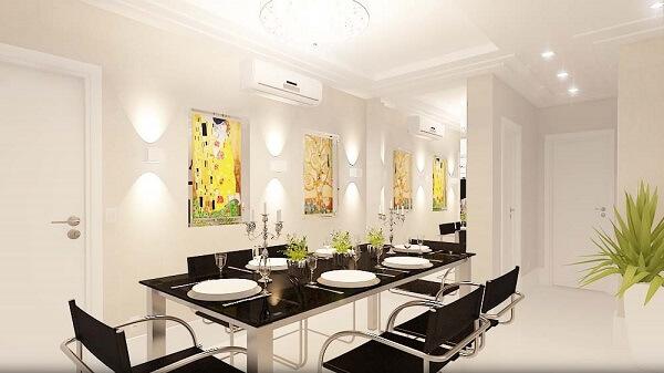 Spot de luz embutir utilizado para iluminação da sala de jantar