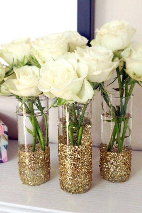 bodas de ouro - arranjo com rosas brancas