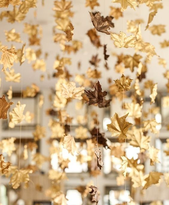 bodas de ouro - decoração com folhas secas