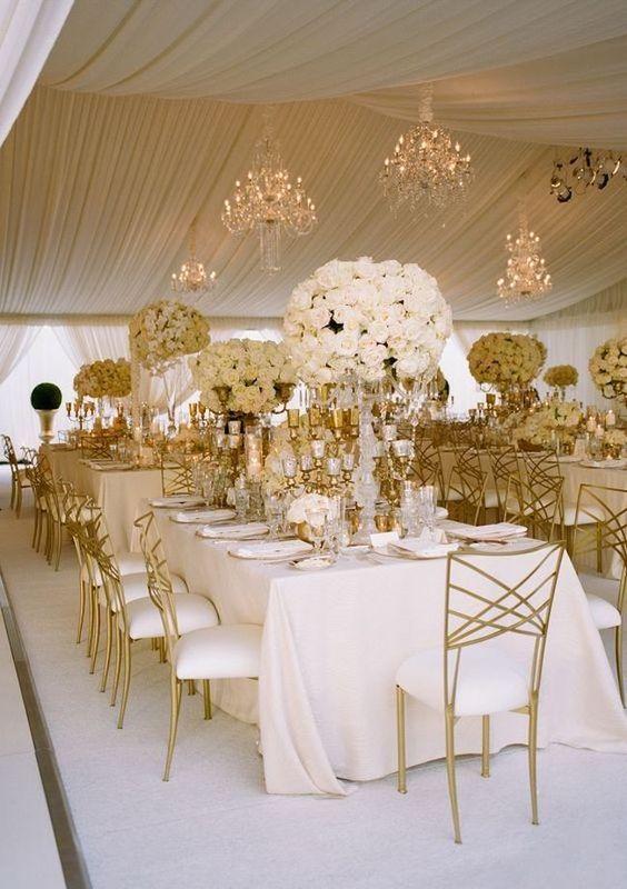 bodas de ouro - decoração dourada em casamento
