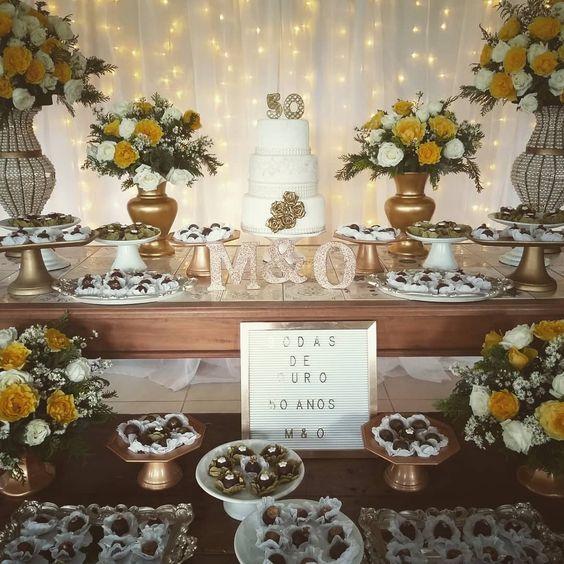 bodas de ouro - mesa de doces decorada