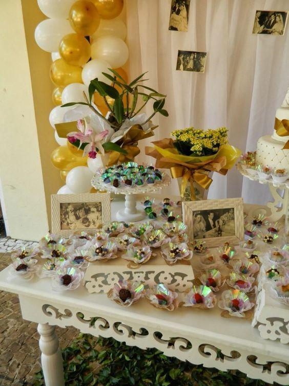 bodas de ouro - mesa de doces decorados