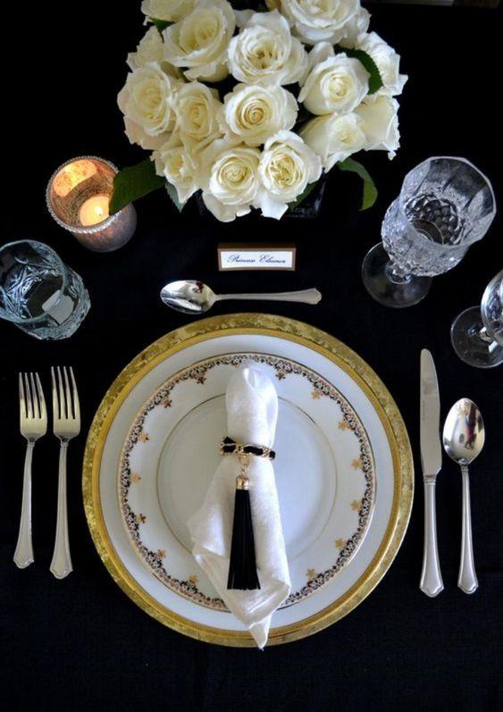 bodas de ouro - mesa de jantar para festa de boda