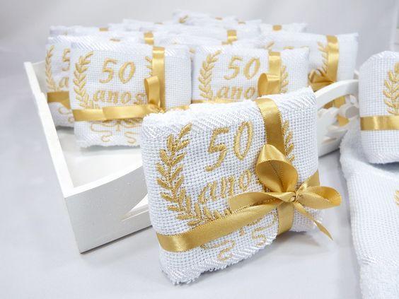 bodas de ouro - toalhas decoradas