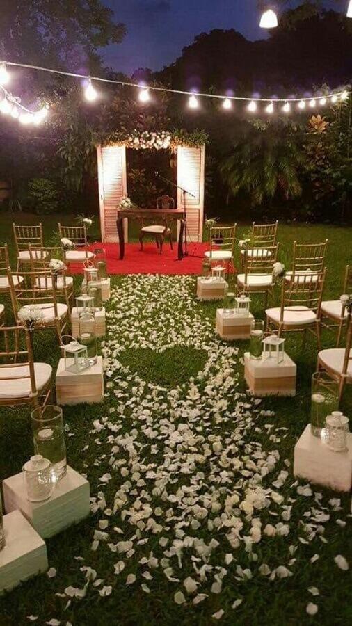 decoração de cerimonia de casamento no campo a noite  Foto Pinterest