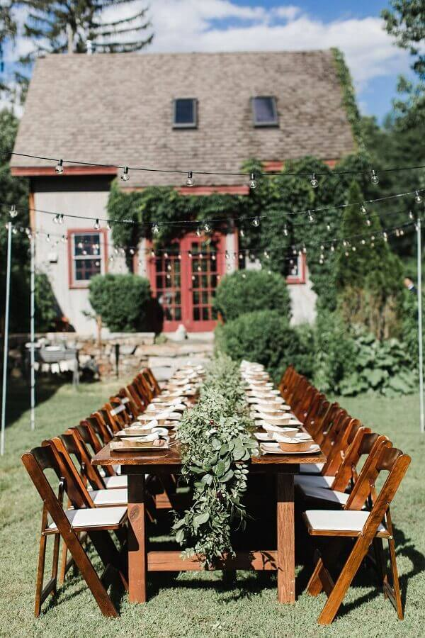 decoração de mesa para festa de casamento rústico no campo  Foto Wedding Chicks
