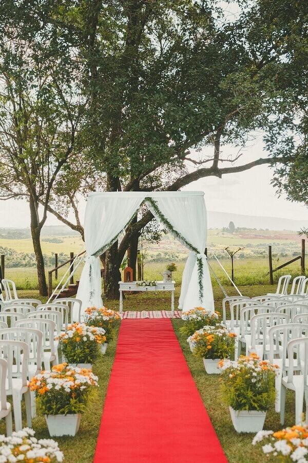 decoração para casamento simples no campo Foto  Pinterest