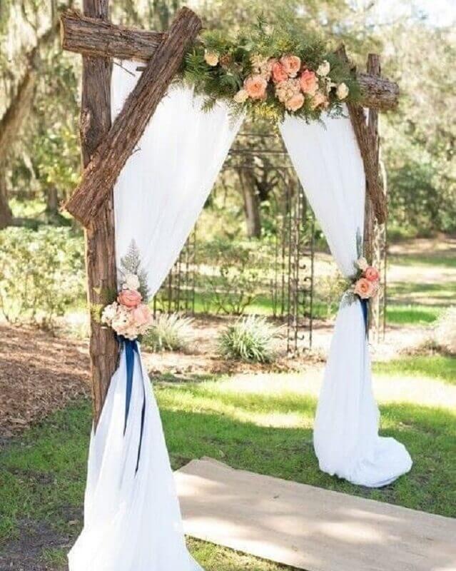 decoração para cerimonia de casamento rústico no campo  Foto Casamento Country