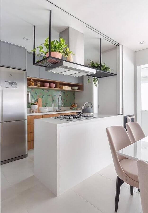 decoração para cozinha com bancada pequena Foto Duda Senna