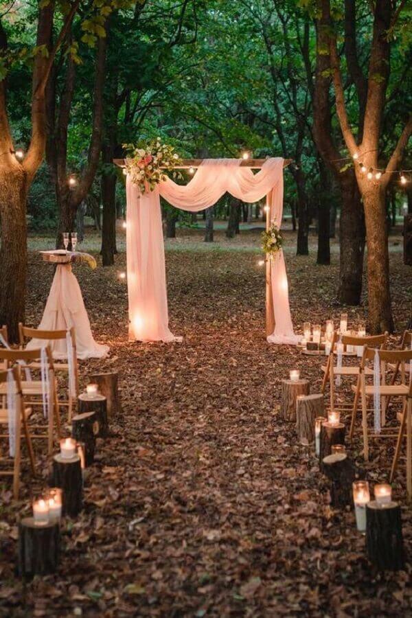 decoração rústica com velas para casamento no campo a noite Foto Etsy