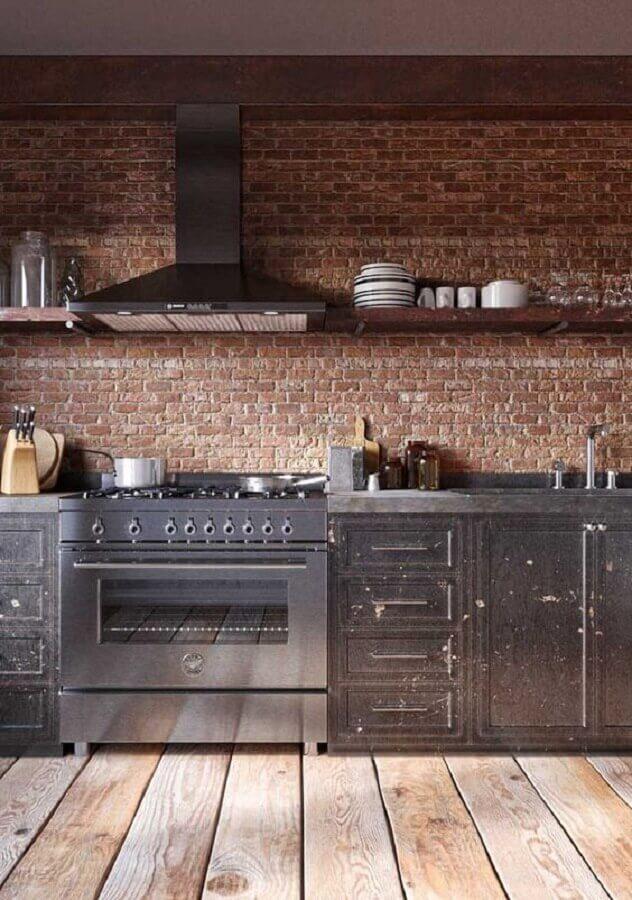 decoração rústica para cozinha com bancada de concreto e parede de tijolinho Foto Revista VD