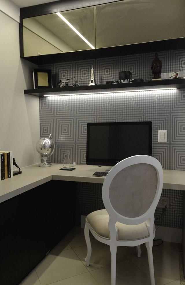 papel de parede geométrico - home office com papel de parede geométrico