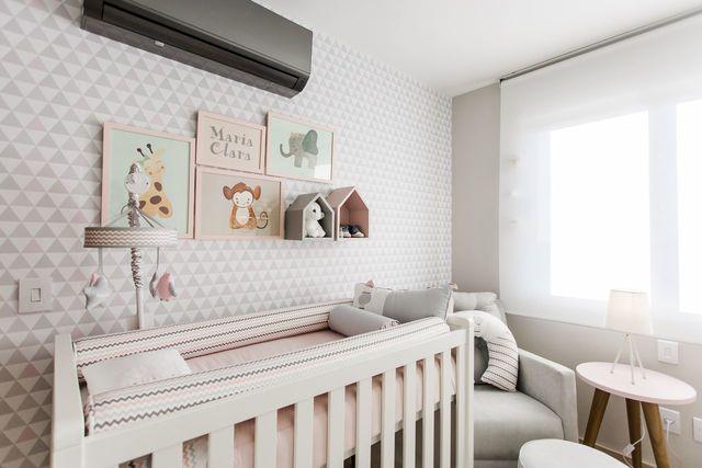 papel de parede geométrico - papel de parede geométrico em quarto de bebê