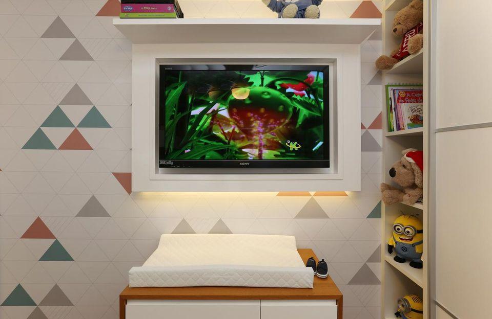 papel de parede geométrico - papel de parede geométrico em quarto infantil