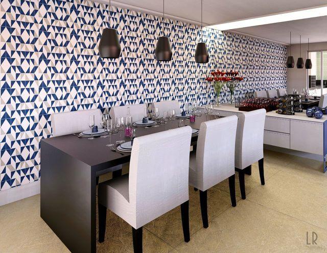 papel de parede geométrico - papel de parede geométrico em sala de jantar