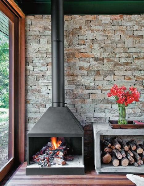 parede de pedra - lareira com parede de pedra