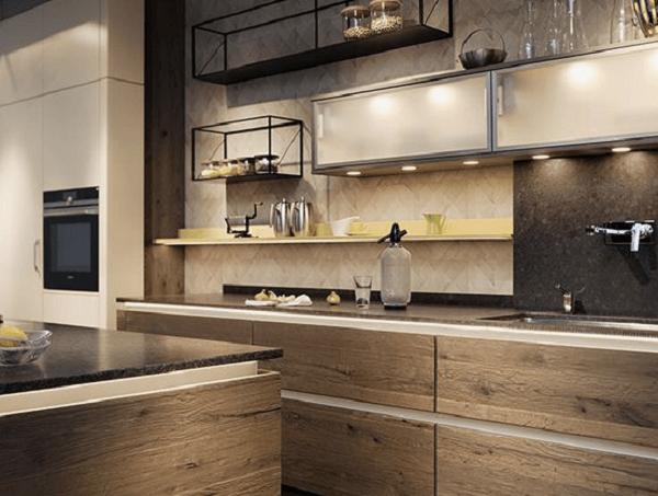 Cozinha com Spot embutido no móvel